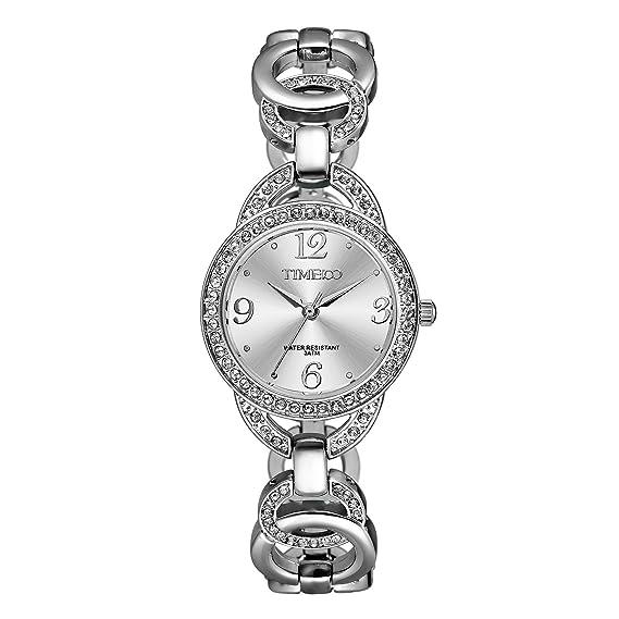 Time100 W50377L.01A Fashion Reloj pulsera de joya para mujer, estilo sencillo con diamante correa de color plateado material de acero: Amazon.es: Relojes