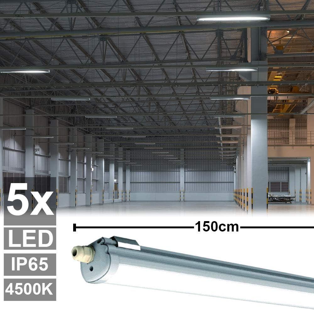 5er Set 48 Watt LED Wannen Strahler Keller Decken Industrie Big Light
