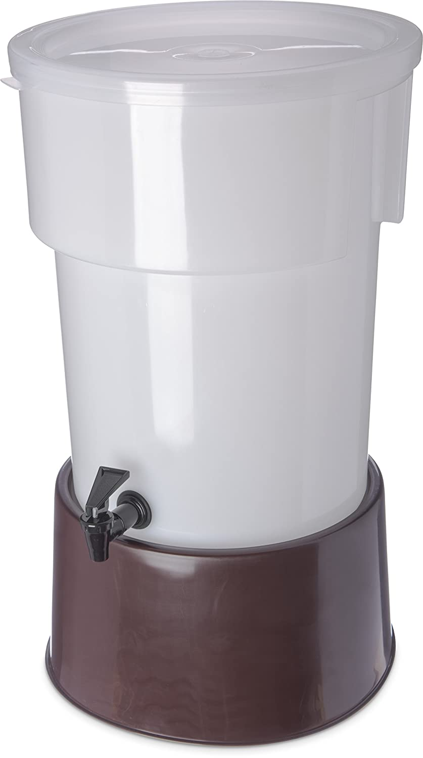 Carlisle 223001 Brown 5 Gallon Round Beverage Dispenser with Base