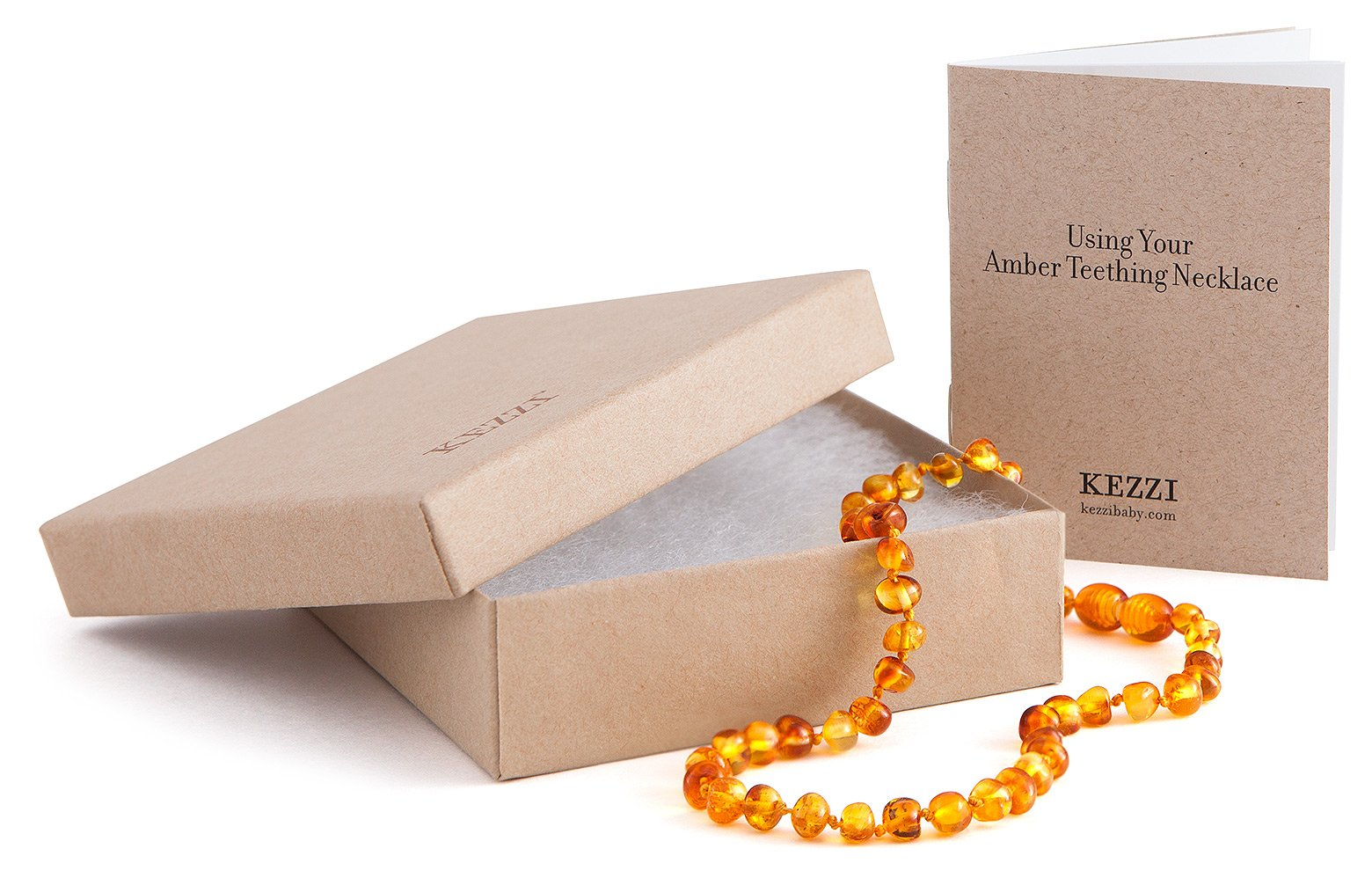 Amber Teething Necklace - Certified Authentic Baltic Amber - Amber Beads Work By Releasing Naturally Occurring Succinic Acid As an Anti-inflammatory - Also Helps Reduce Drooling - Satisfied Customer Guarantee (Honey) by Kezzi - Amber Teething Necklace