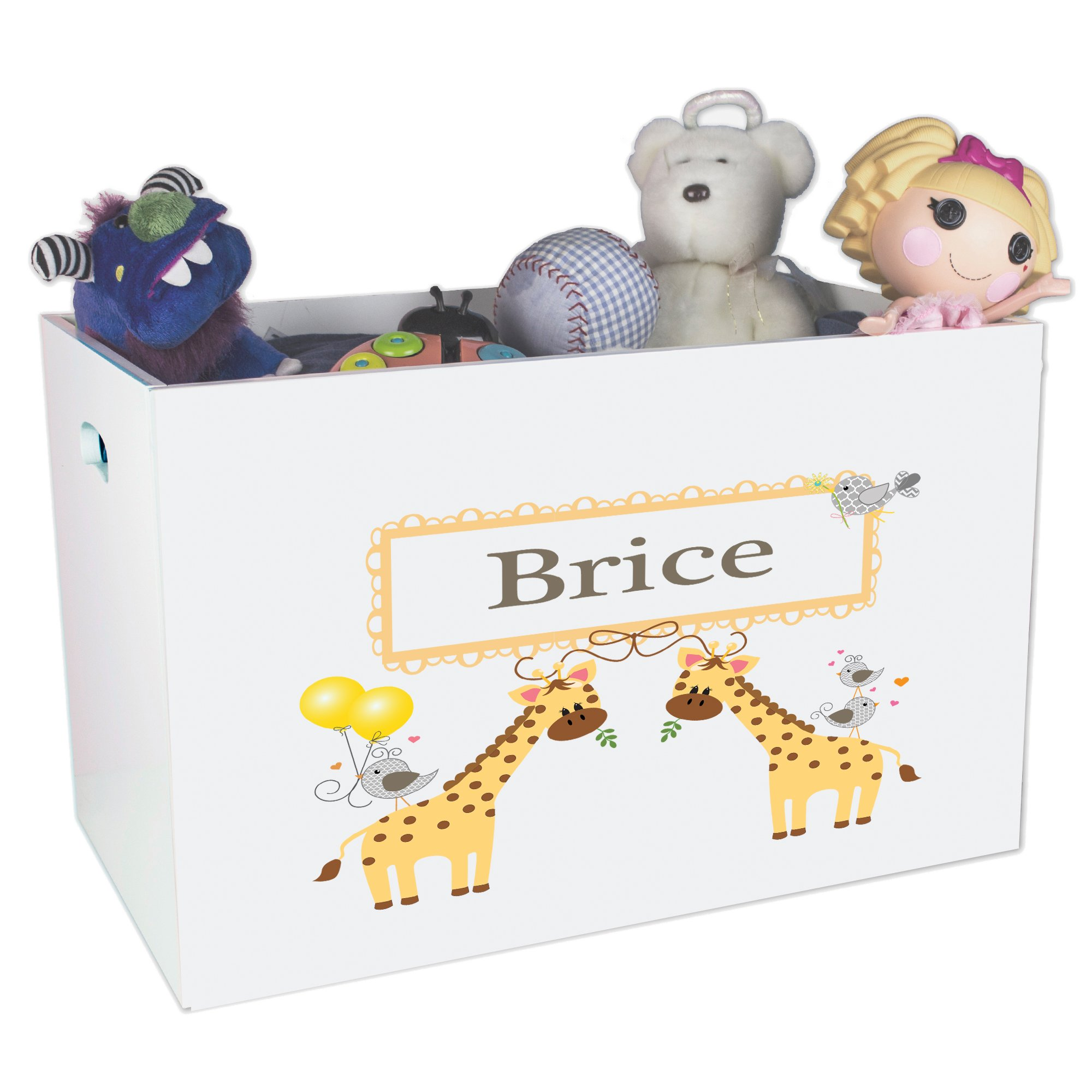 Personalized Giraffe Childrens Nursery White Open Toy Box