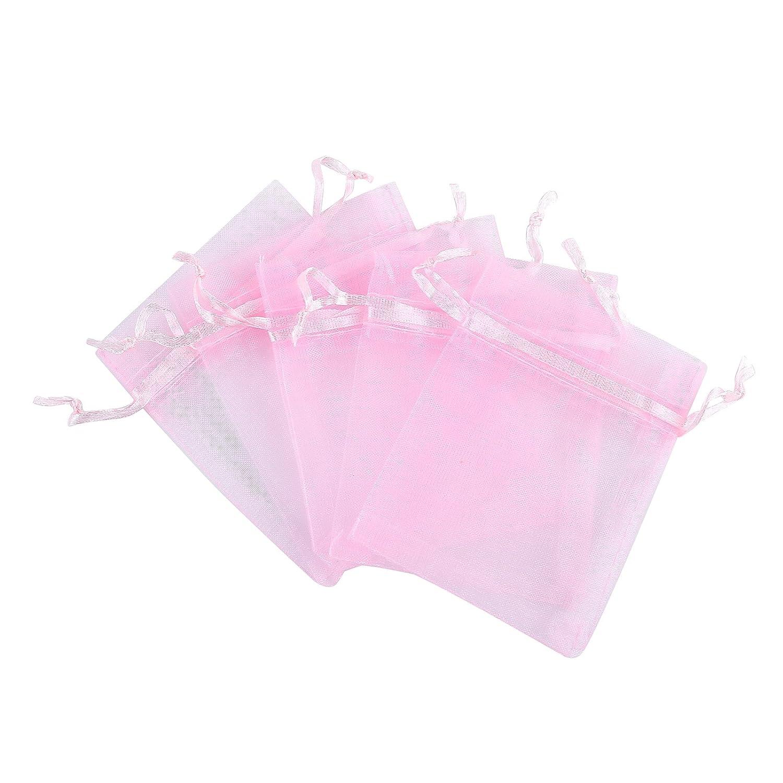 Amazon.com: Anleolife 100pcs Pink Organza Bags 3x4 Wedding Sheer ...