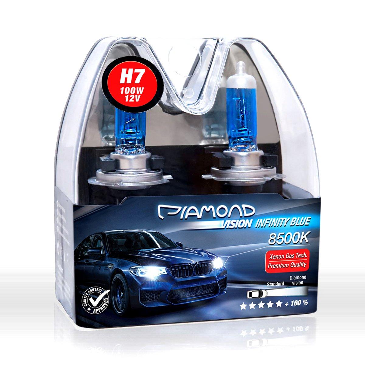 2x White 12V H7 100W 8500K Xenon Lamp Super Bright Halogen Car Headlight Bulbs