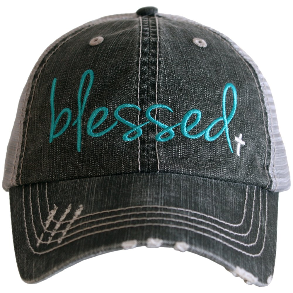 Katydid Deals Blessed Women's Trucker Hat-Teal/White