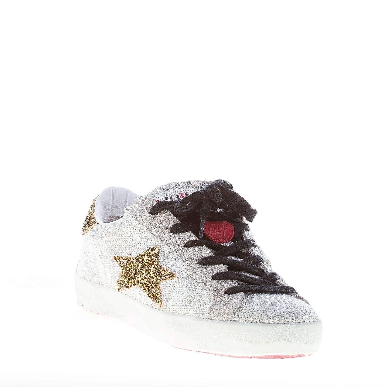 Ishikawa Donna scarpe da ginnastica Bassa Bassa Bassa in Tessuto Bianco Vintage con Glitter oro e6b3f0