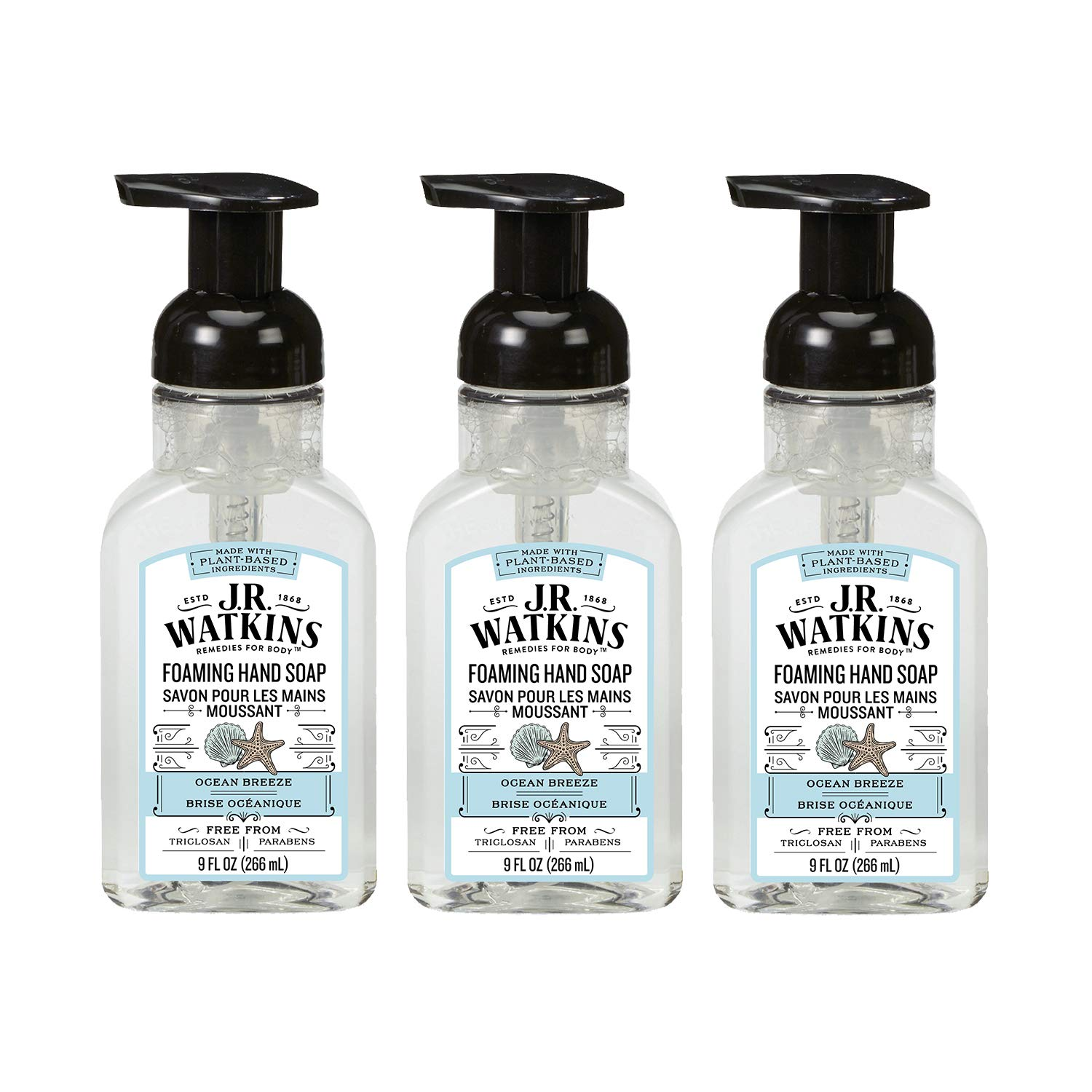 J.R. Watkins Foaming Hand Soap, Ocean Breeze, 3 Pack, Scented Foam Handsoap For Bathroom or Kitchen, USA Made And Cruelty Free, 9 Fl Oz by J.R. Watkins