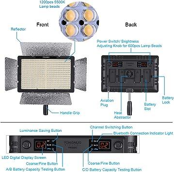 Yongnuo Yn1200 5500k Led Videoleuchte Video Licht Einstellbare Helligkeit Cri 95 Unterstützung App Fernbedienung Mit 2pcs Ct Filter Fernbedienung Mit 2m Licht Stand Und Externen Netzteil Haustier