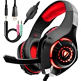 Wired Red Gaming Headset for PS4, Over-Ear PC Headphones As Gifts, Gamer Headset with Noise Cancelling Mic LED Light Crystal