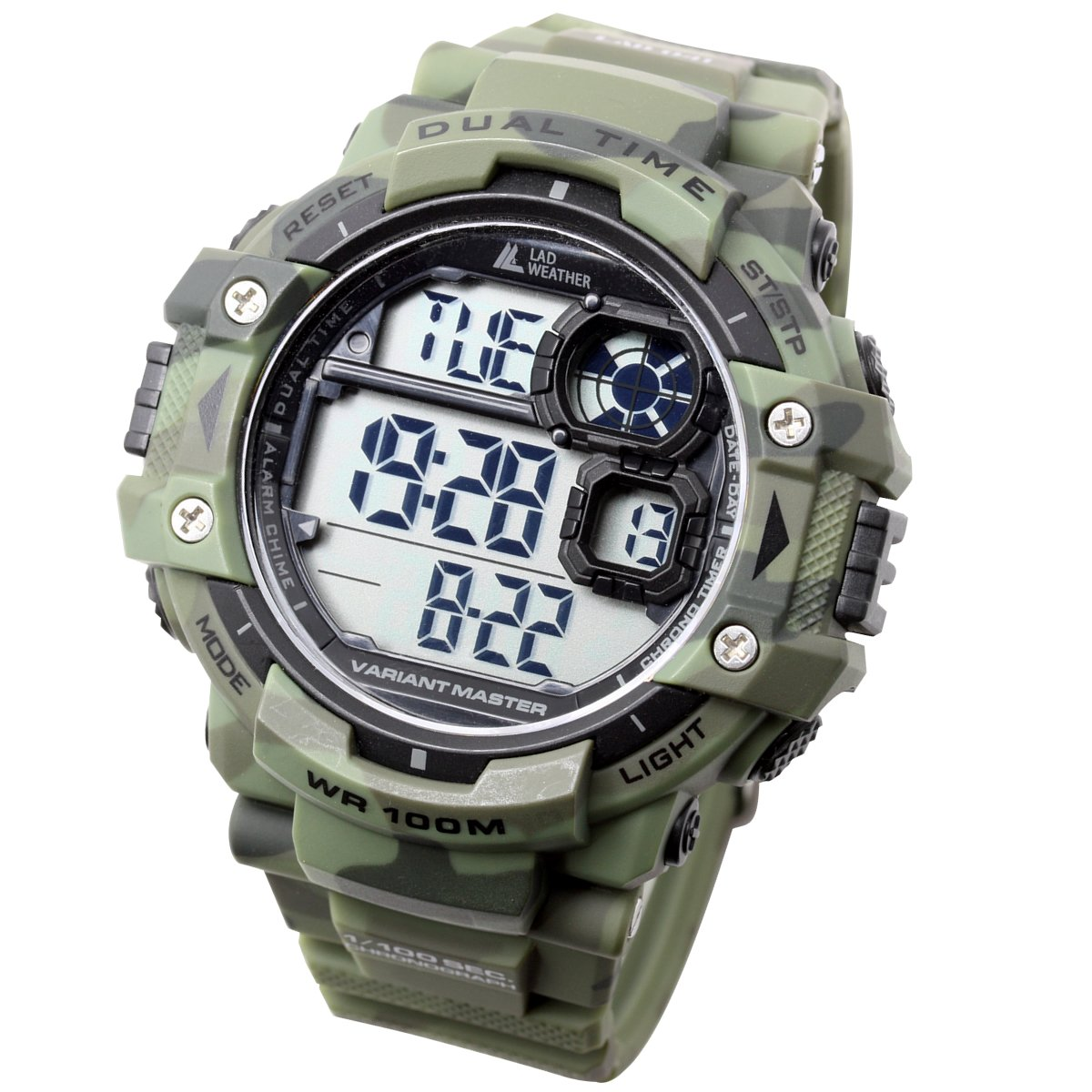 [LAD Weather] Dual time/100m Water Resistance/Stopwatch/Pacer Function/Digital Display/Military Watch/Camouflage