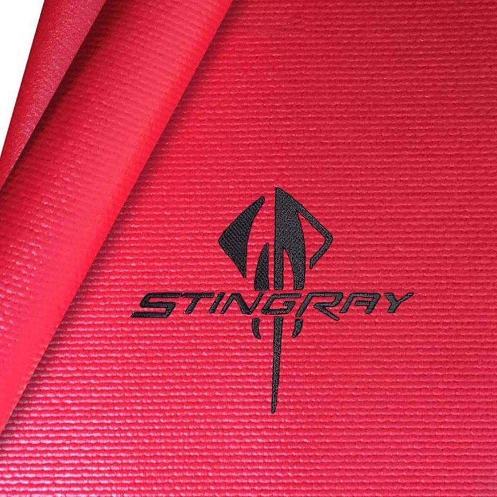 Red with Silver Logo C7 Corvette Fender Cover Mat with Stingray Logo
