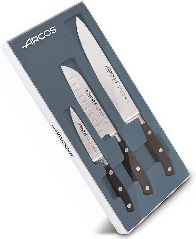 Compra Arcos 807710 Juego Cuchillos Cocina 3 piezas, acero_inoxidable, negro en Amazon.es