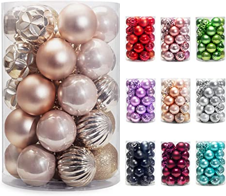 40mm, Silver AMS Christmas Ball Mini Ornaments Party Decoration Shatterproof Festival Widgets Pendant Hanging Pack of 34pcs