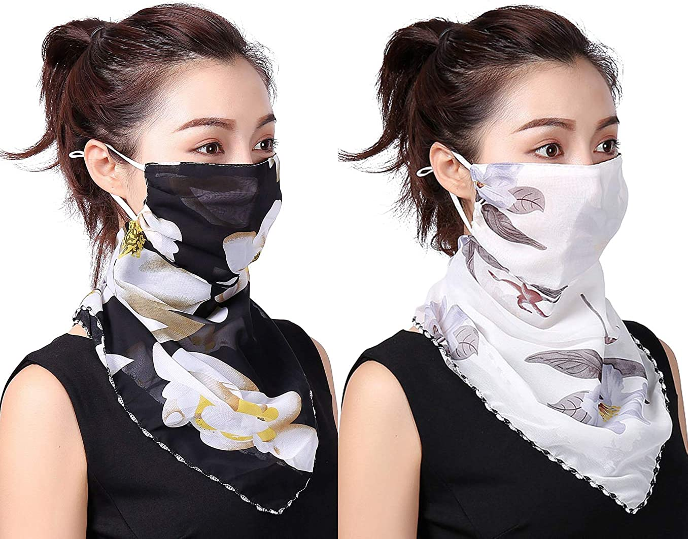 2 Pack Women's Colorful Sun Proof Chiffon Face Cover Bandana Outdoor UV Protection Neck Gaiter (One Size, Assorted01)