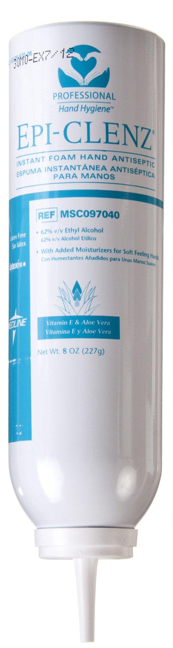 Medline MSC097040 Epi-Clenz Foaming Instant Hand Sanitizers, Latex Free, 8 oz, Clear (Pack of 24)