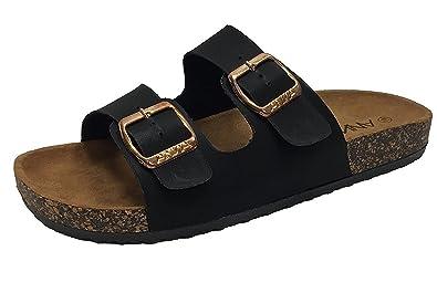 6b57e70c46e1 Annas Fashion Anna Women s Double Strap Cork Sole Slide Sandal with Buckle