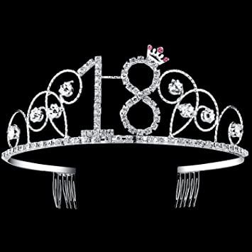 Amazon.com   BABEYOND Crystal Tiara Birthday Crown Princess Crown Hair  Accessories Silver Diamante Happy 18th Birthday (18 Birth)   Beauty e4eae3305fb5