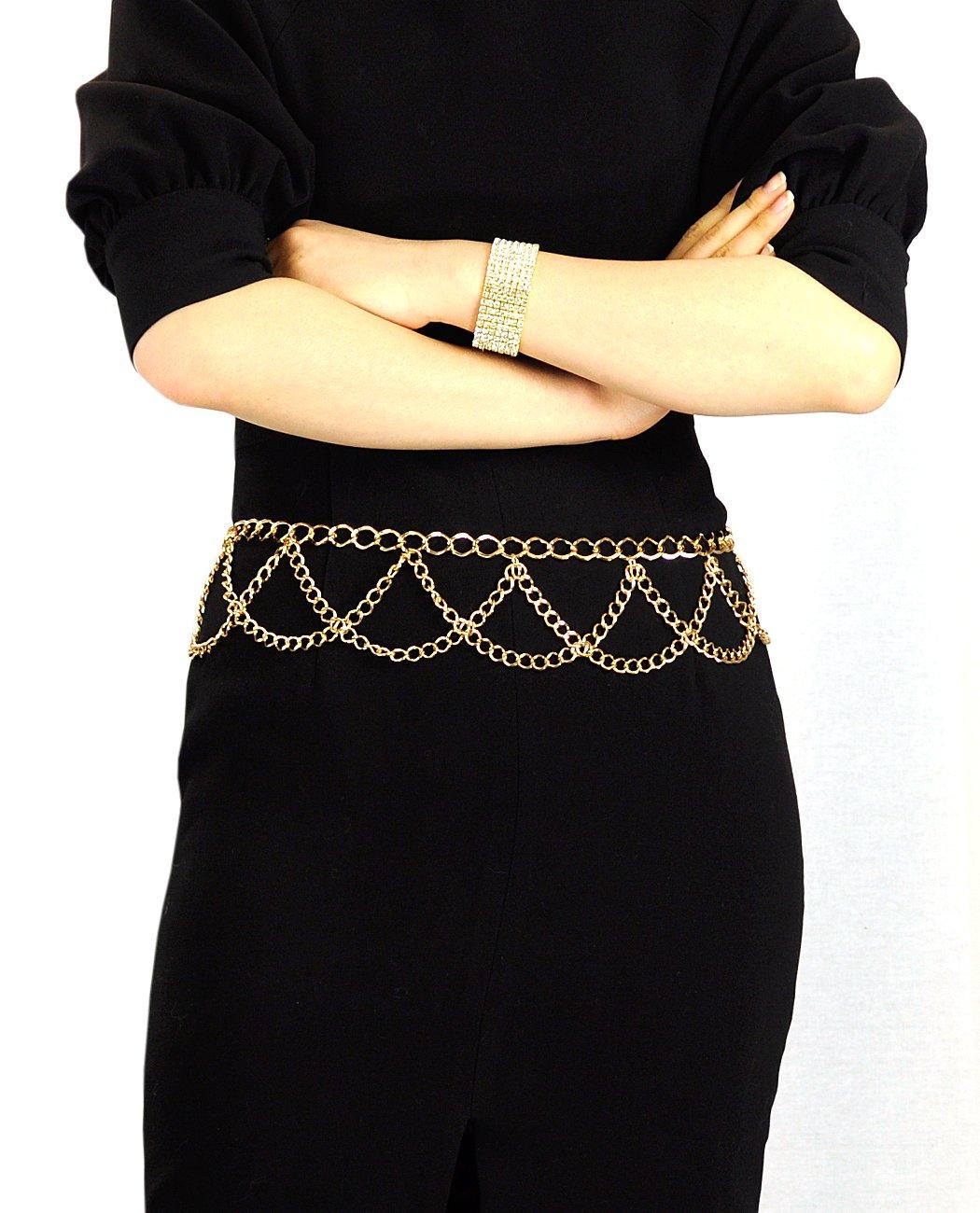 NYfashion101 Trendy Belly Chain Belt w/ Multi Link Chains IBT1002-Gold
