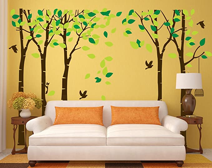 Amazon.com: CaseFan 5 Trees Wall Decal Forest Mural Paper for ...