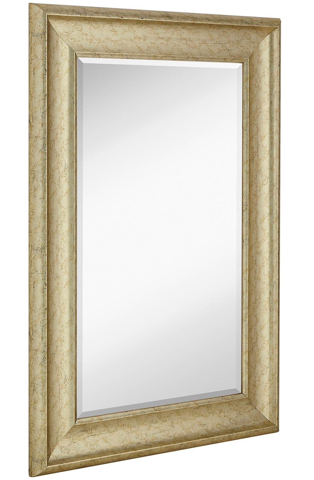 Smooth Transitional Framed Mirror | 1'' Beveled Silver Backed Glass | Vanity, Bedroom, or Bathroom | Mirrored Rectangle Hangs Horizontal or Vertical Thick Frame | 24'' x 36'' Inches Style B
