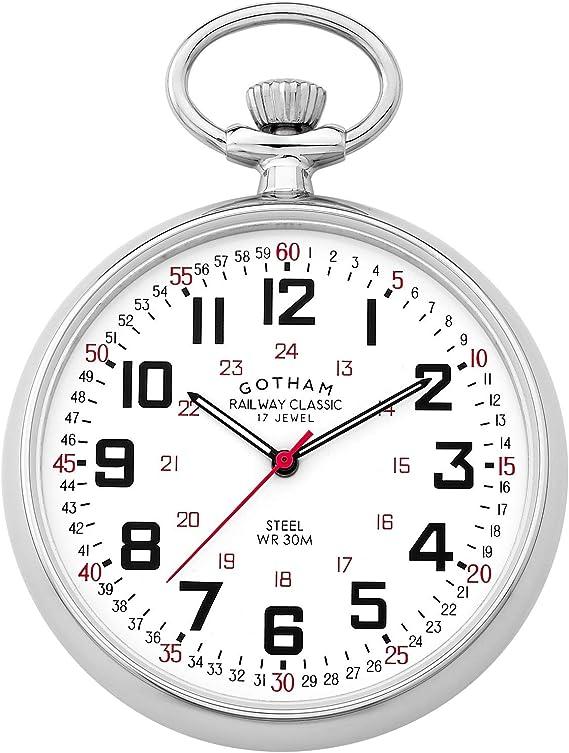 Gotham Men's Silver-Tone Mechanical Hand Wind Railroad Pocket Watch # GWC14100S