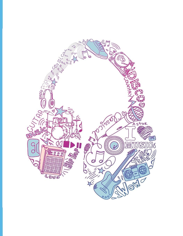"Headphone Sheet Music Notebook: Blank Sheet Music Notebook, Music Theory Notebook, 8.5"" x 11"" 100 sheets 200 pages, 12 music staffs, staves per page PDF"