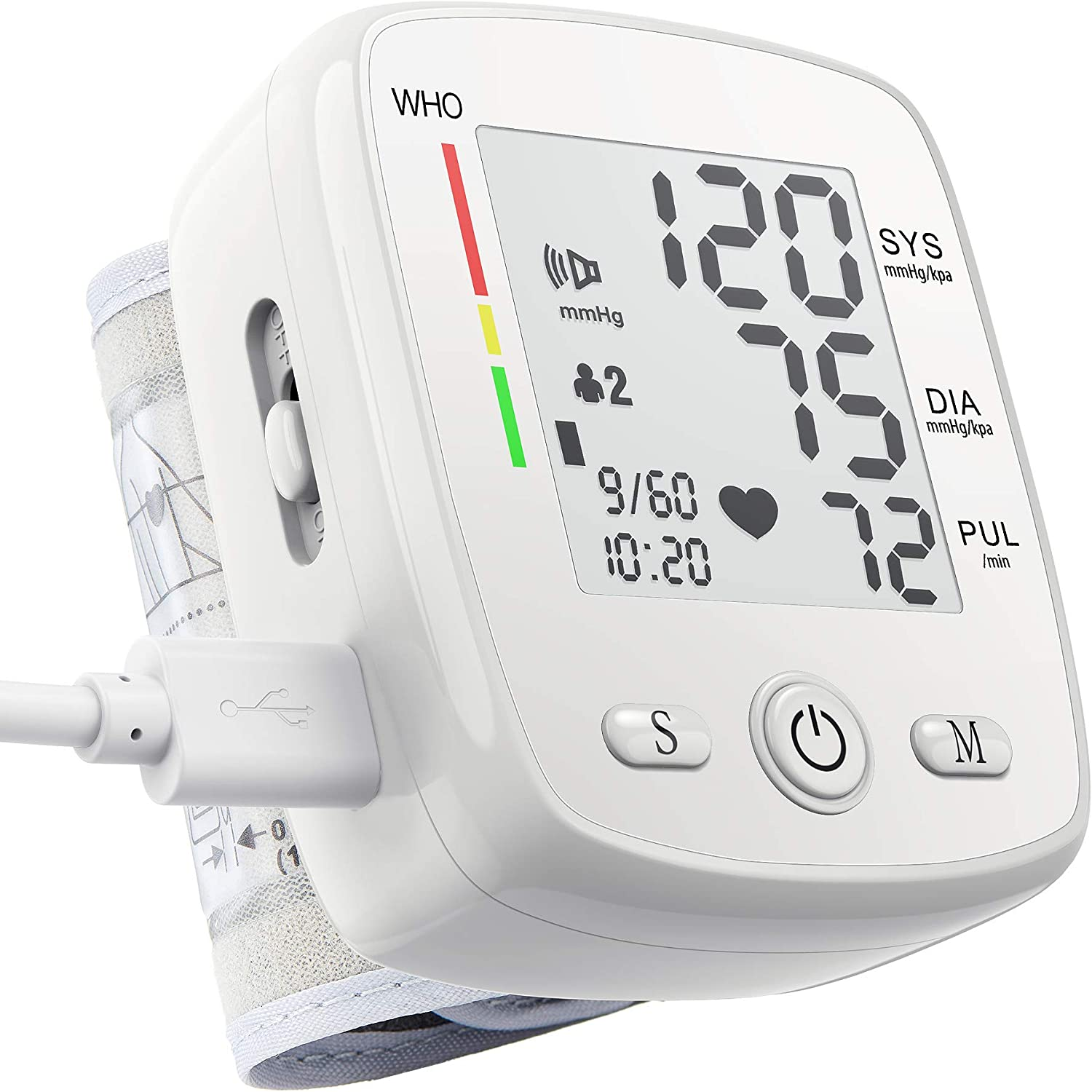 Blood Pressure Monitor Digital Wrist BP Machine with Irregular Heartbeat Indicator Automatic BP Cuff with 90*2 Memory Voice Large LCD Display Adjustable Cuff USB Charging