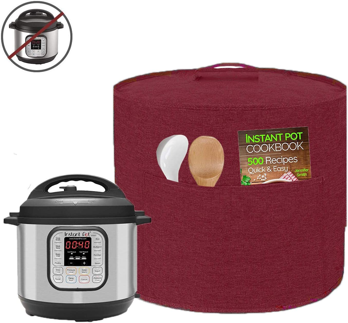 Appliance Cover Dust Cover Watetproof for 8 Quart Instant Pot,Electric Pressure Cooker,Rice cooker,Air Fryer and Crock Pot, Machine Washable (For 8 Quart Instant Pot, Wine Red)