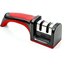 Best Kitchen Knife Sharpener | Turn Blunt Knives Into Samurai Swords | Rejuvenate Knife Collection Like New In Seconds | Save Money From Buying New Knives | Silicon Base, Very Light, Fits In Drawer, Easy To Use, Stable And Sharpens Brilliantly With Ergonomic Handle | World Professional Chef's Choice, Red, By SunrisePro - Don't Bin It, Sharpen It!