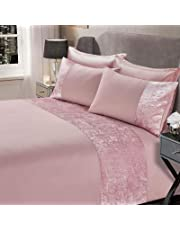 Sienna Crushed Velvet Panel Band Duvet Cover with Pillow Case Bedding Set Silver Grey Champagne Natural Charcoal