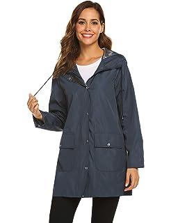 dd06d27b22ba SUNAELIA Rain Jacket Women Waterproof Lightweight Hooded Raincoat Active  Outdoor Windbreaker Trench Coat S-XXL