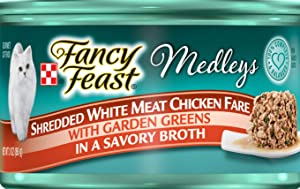 Purina 30 Cans of Fancy Feast Medleys Shredded White Meat Chicken Fare Canned Cat Food, 3-oz, ea