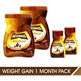 Accumass Natural Weight Gainer Chocolate Flavor 1 Month Pack, (2 Pcs Granules 525gm + 2 Pcs Capsules 60Caps)