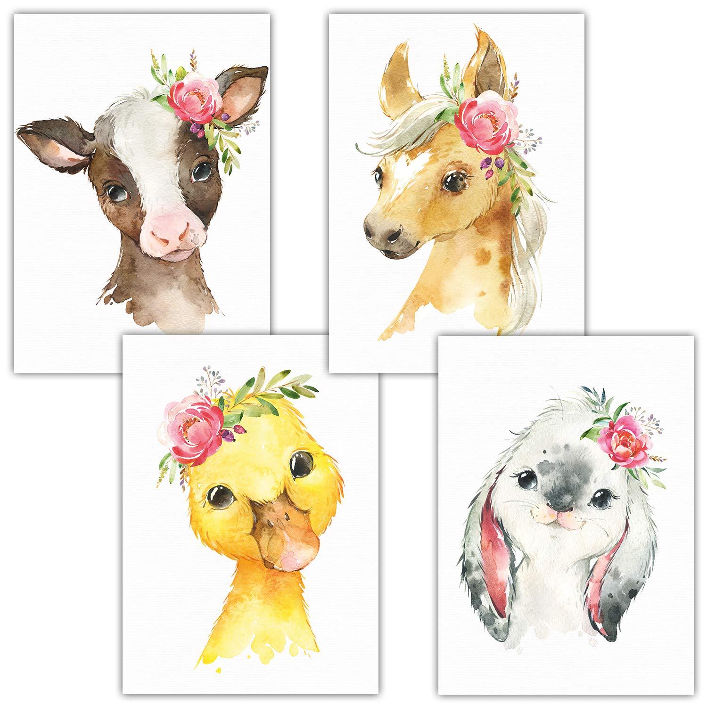 4er Set Blumen, Safari, A4-21x29,7cm Frechdax/® 4er Set Kinderzimmer Poster A4 Bilder Babyzimmer Deko M/ädchen Junge