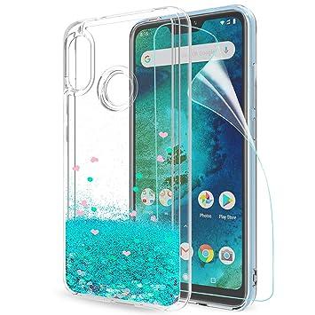 LeYi Funda Xiaomi Mi A2 Lite/Redmi 6 Pro Silicona Purpurina Carcasa con HD Protectores de Pantalla, Transparente Cristal Bumper Telefono Gel TPU ...
