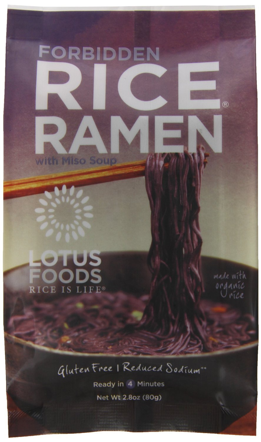 Lotus Foods Organic Forbidden Rice Ramen with Miso Soup, 2.8 Ounce - 10 per case.