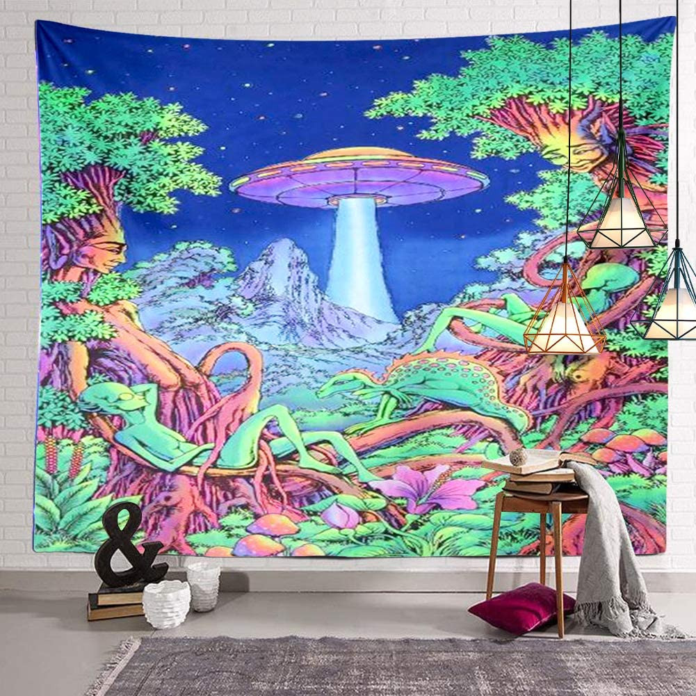 BERRY Psychedelic Alien UFO Tapestry Dinasour Forest Trees Wall Hanging Decor Indian Mandala Bohemian Hippie Trippy Large Tapestry for Bedroom Living Room Dorm(80x60 Inch)