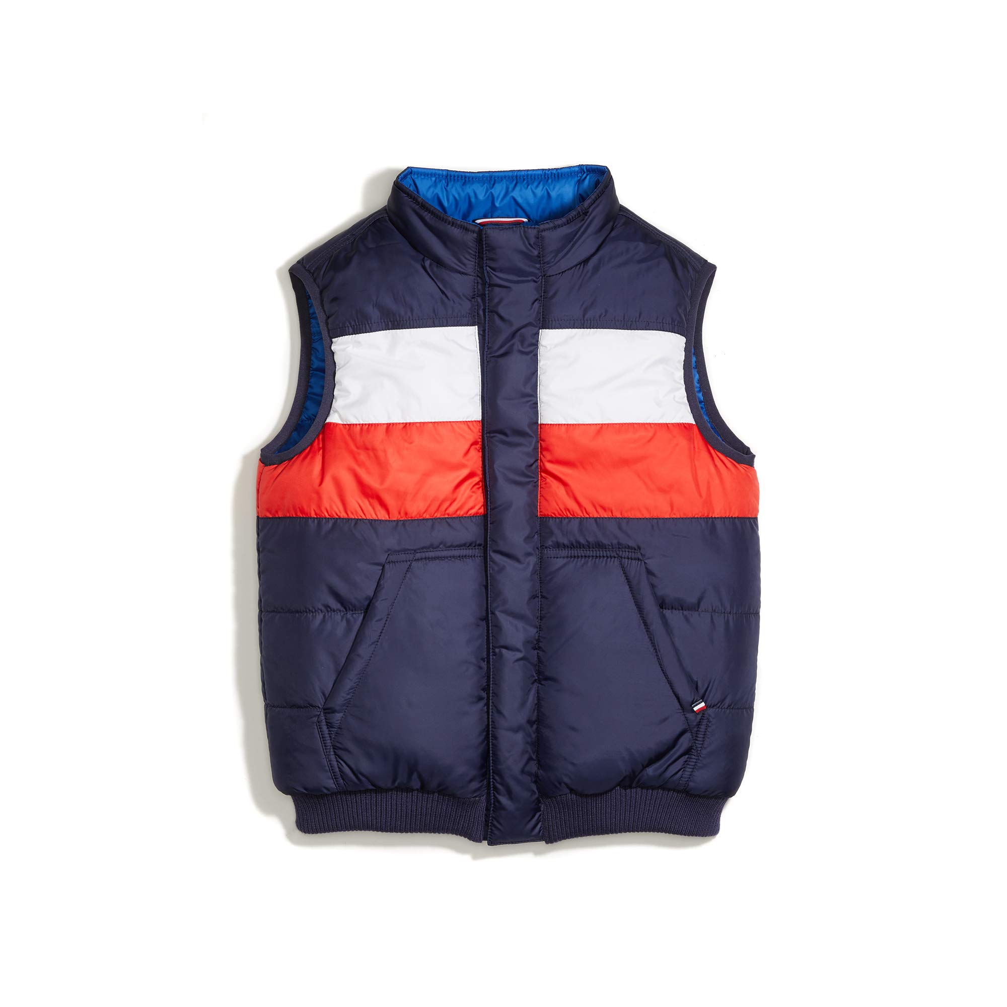 Tommy Hilfiger Boys' Adaptive Reversible Puffer Vest with Magnetic Zipper, Peacoat, XL by Tommy Hilfiger