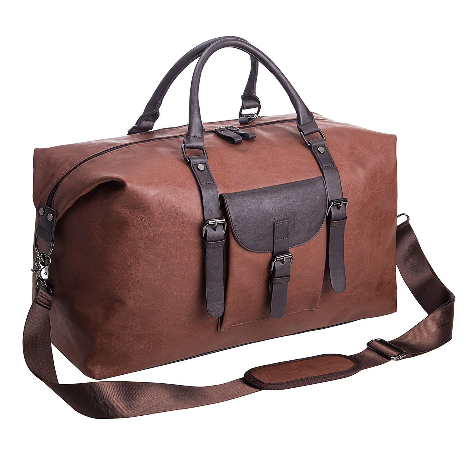1aea9ef7881f Oversized Leather Travel Duffel Bag,Weekender Overnight Bag Waterproof  Leather Large Carry On Bag Travel Tote Duffel Bag for Men or Women-Brown