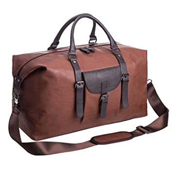 9be4141a1 Amazon.com | Oversized Leather Travel Duffel Bag,Weekender Overnight Bag  Waterproof Leather Large Carry On Bag Travel Tote Duffel Bag for Men or ...
