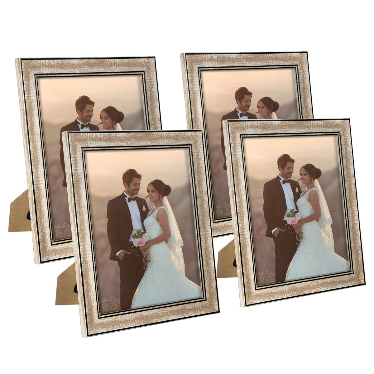 NUOLAN 8x10 Picture Frame Farmhouse Rustic Brown Wood Pattern Photo Frames with Silica Glass for Tabletop or Wall Mounting,4 Pack (NL-WPC8X10-RB) by NUOLAN