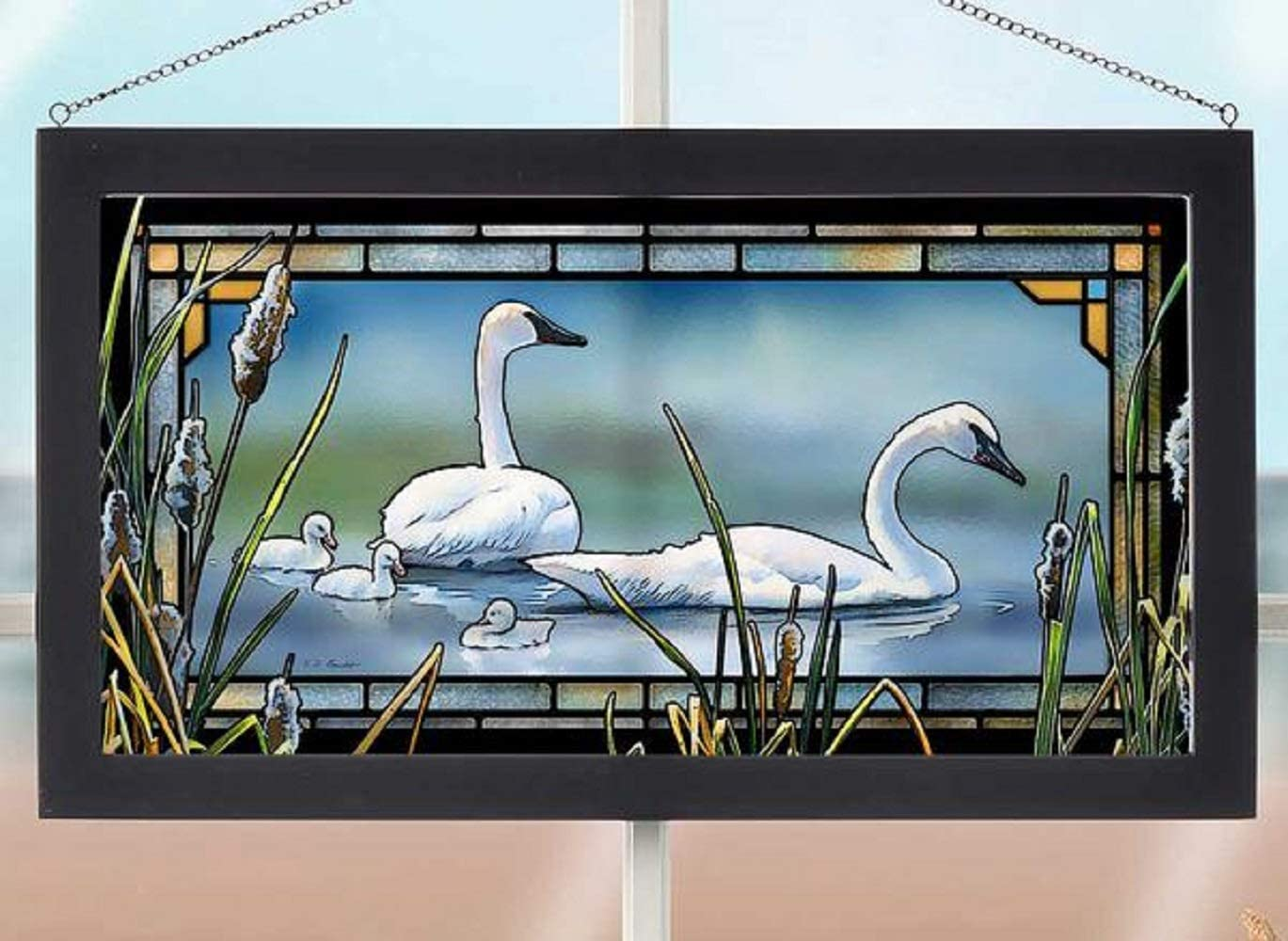 Darby Creek Trading Swans with Chicks Day at Lake Stained Glass Art Hanging Panel