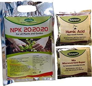 Katyayani NPK 20 20 20 Fertilizer for Plants with 2 Sample - Mix micronutrients and Organic Humic Acid Complete Plant Food 100% Water Soluble (400gm)