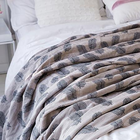 Mantas suaves de algodón delgada delgada doble primavera, verano y otoño Manta de siesta Manta de