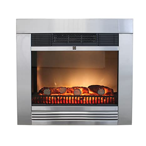 Classic Fire – Chimenea eléctrica Chicago 1800 W, acero inoxidable, LED, frontal simuliertes