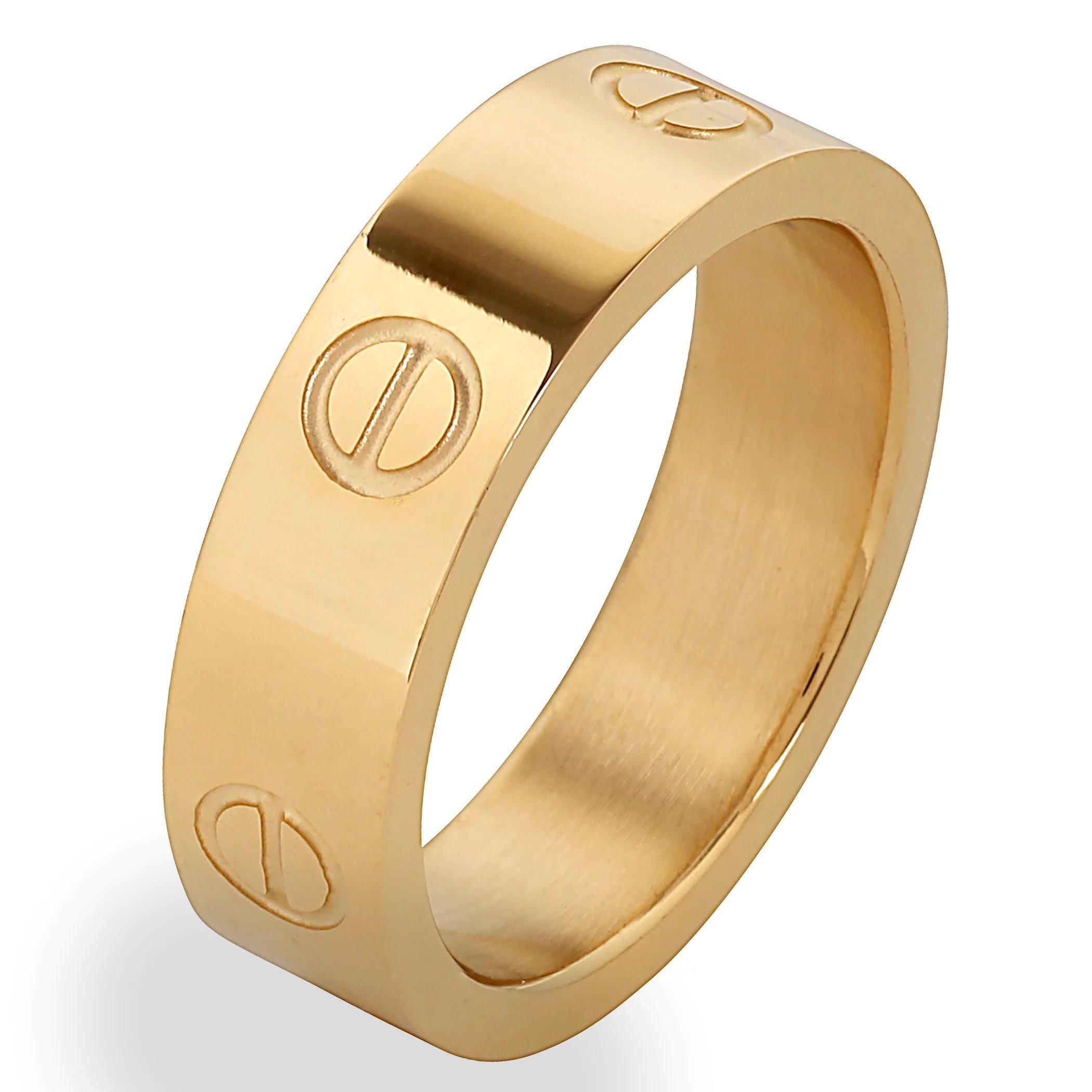Designer Inspired Yellow Gold Titanium Steel Love Ring (5)