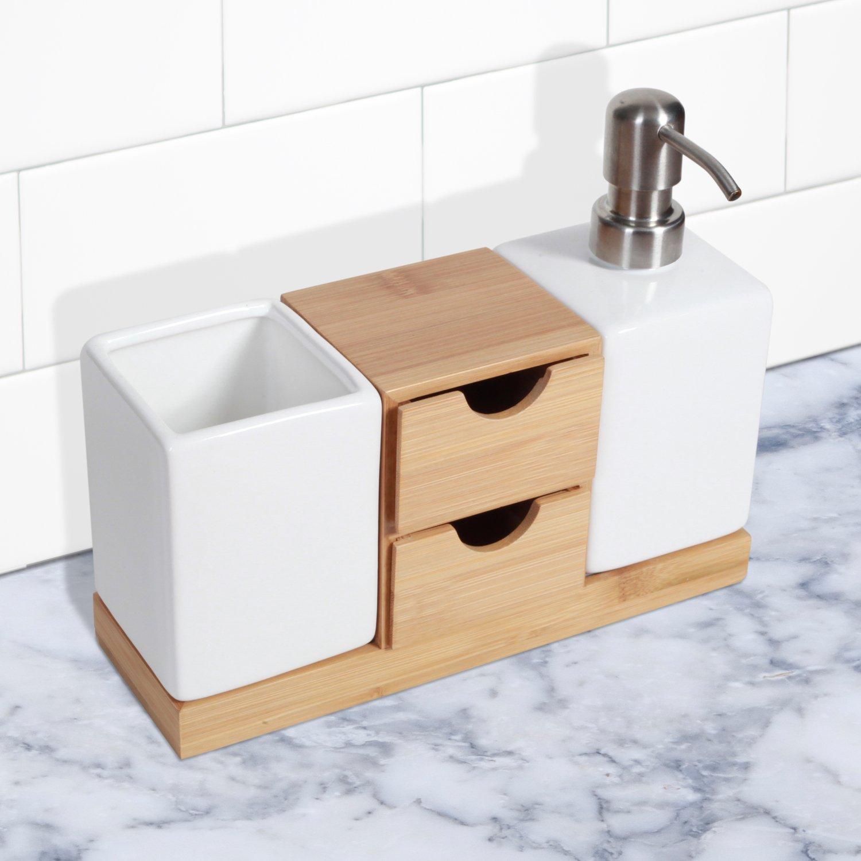 Bamboo countertops bathroom - Amazon Com Bamboo Countertop Organizer And Soap Pump Set Home Kitchen