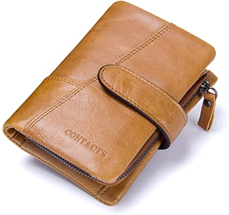 Men/'s Wallet Genuine Leather Zipper Coin Trifold Card Pouch Holder Slim Purse