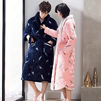 Albornoces Parejas Sleep Robe Winter Men Thickening Bathrobes Lady Pijamas de manga larga para el hogar