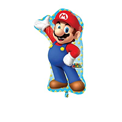 Anagram 33 in. Mario Bros Shape Foil Balloon: Kitchen & Dining