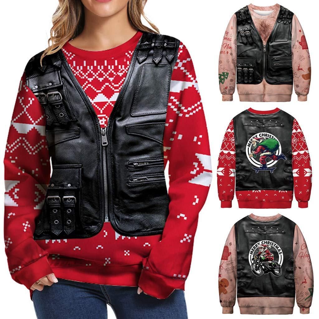 Kstare Christmas Womens Clothes Long Sleeve Loose 3D Print T-Shirt Tunic Lightweight Pullover Sweatshirt Tops
